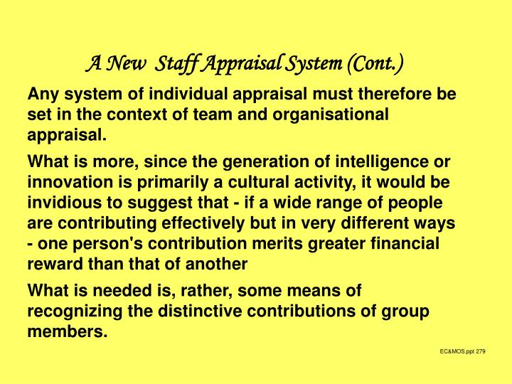 A New  Staff Appraisal System (Cont.)