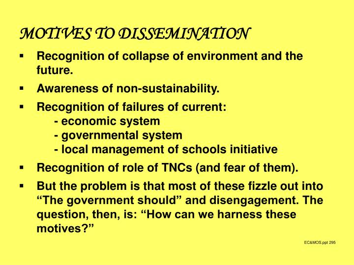 MOTIVES TO DISSEMINATION