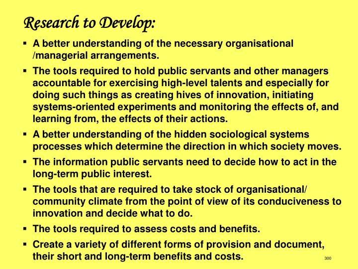 Research to Develop: