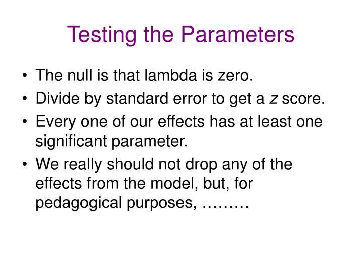 Testing the Parameters