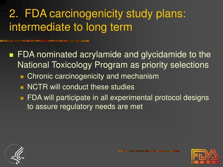 2.  FDA carcinogenicity study plans: