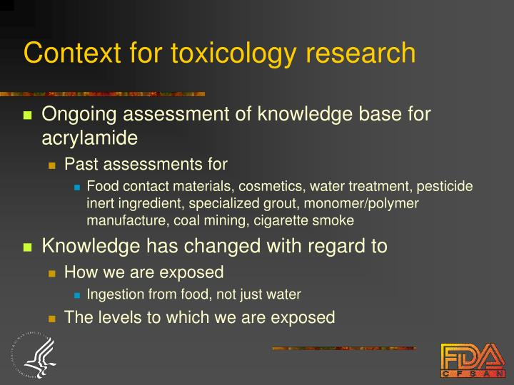 Context for toxicology research