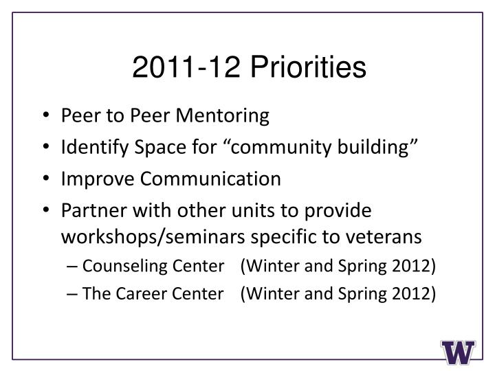 2011-12 Priorities