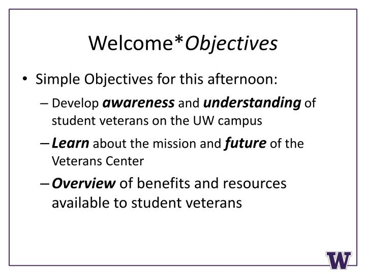 Welcome objectives