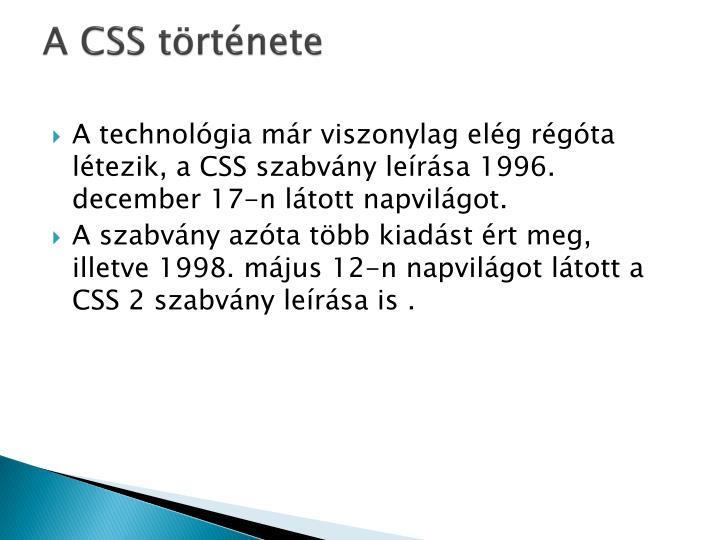 A CSS története