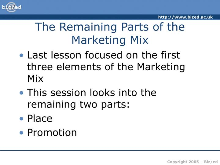 The Remaining Parts of the Marketing Mix