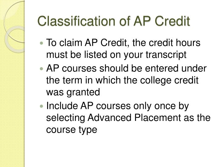 Classification of AP Credit