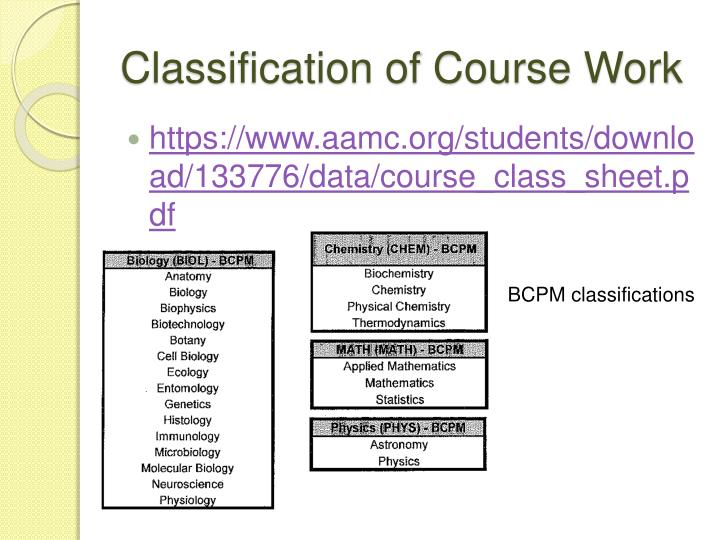 Classification of Course Work