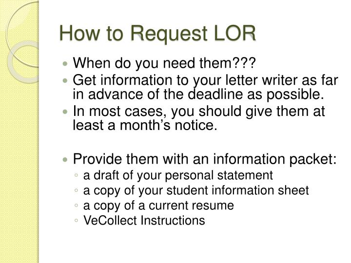 How to Request LOR