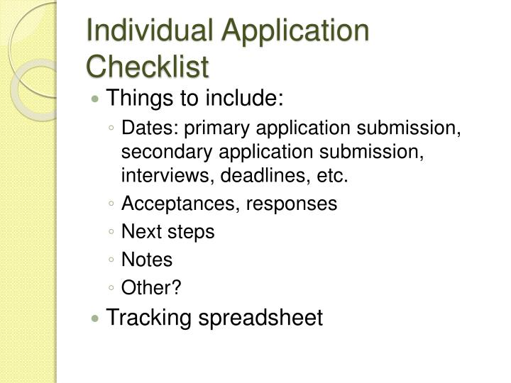 Individual Application Checklist