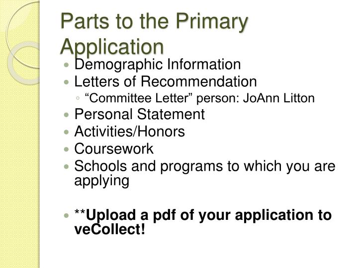 Parts to the Primary Application