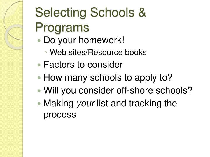 Selecting Schools & Programs