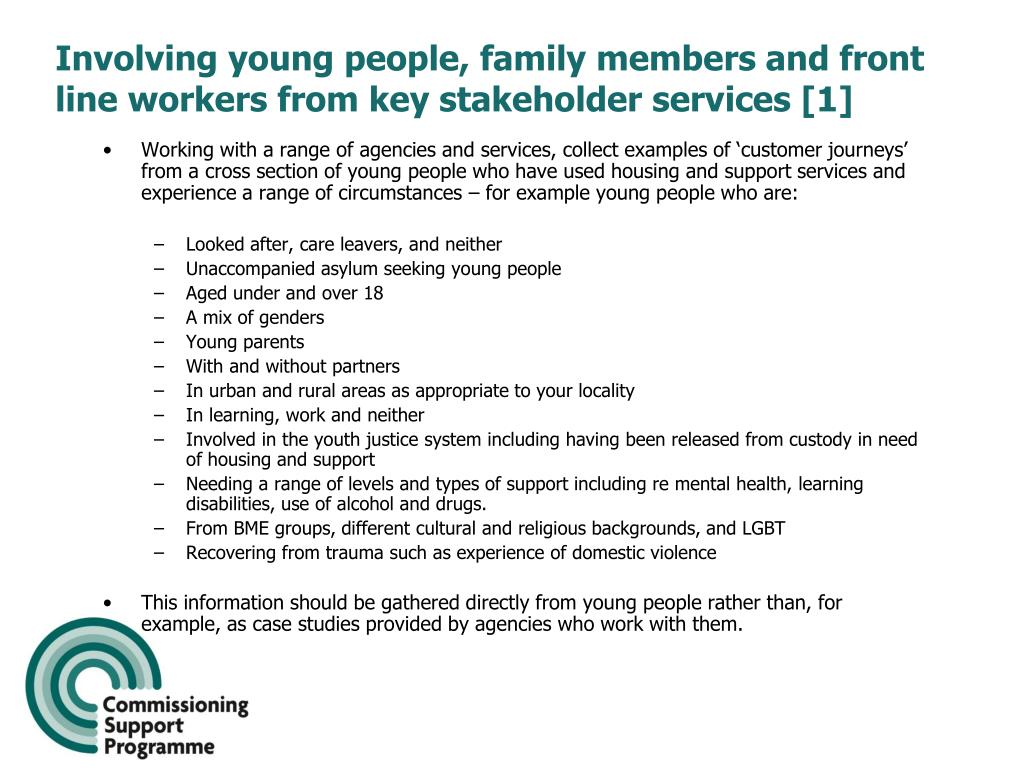 Involving young people, family members and front line workers from key stakeholder services [1]