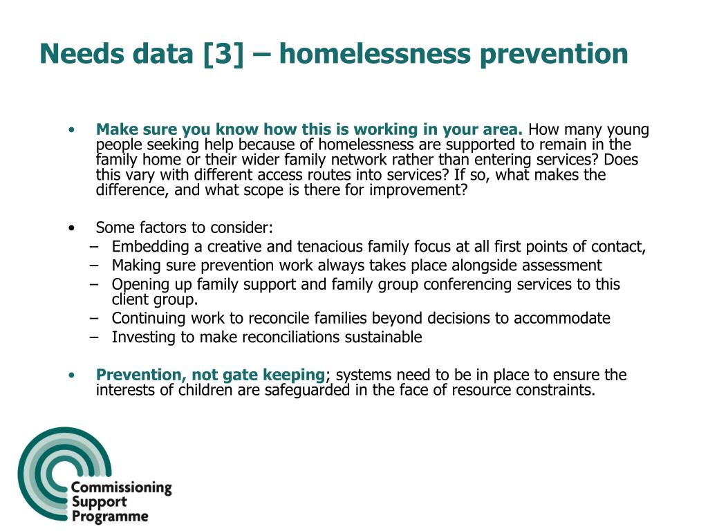 Needs data [3] – homelessness prevention