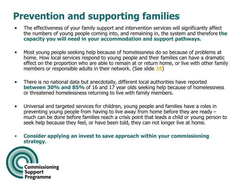 Prevention and supporting families