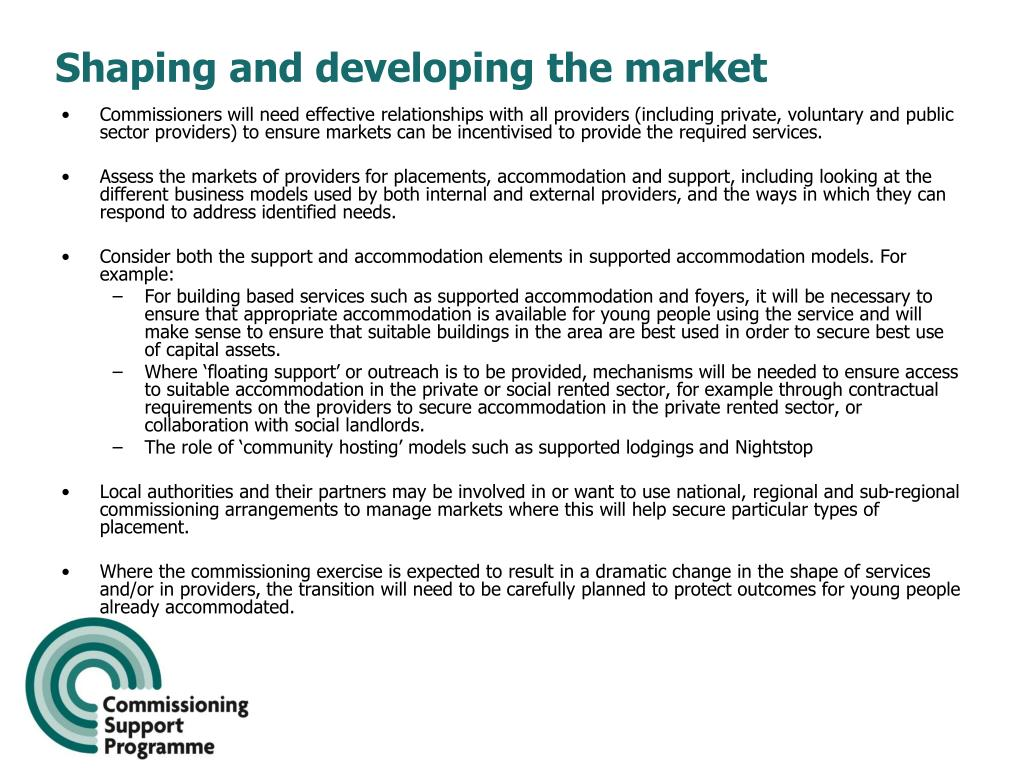 Shaping and developing the market