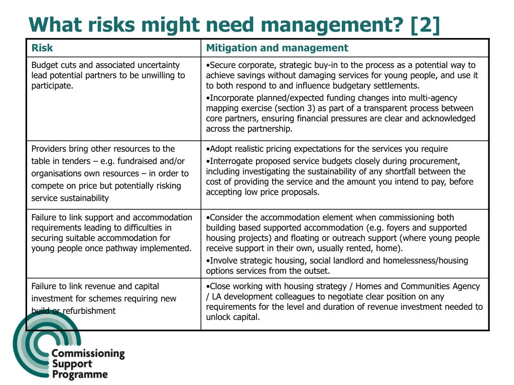 What risks might need management? [2]