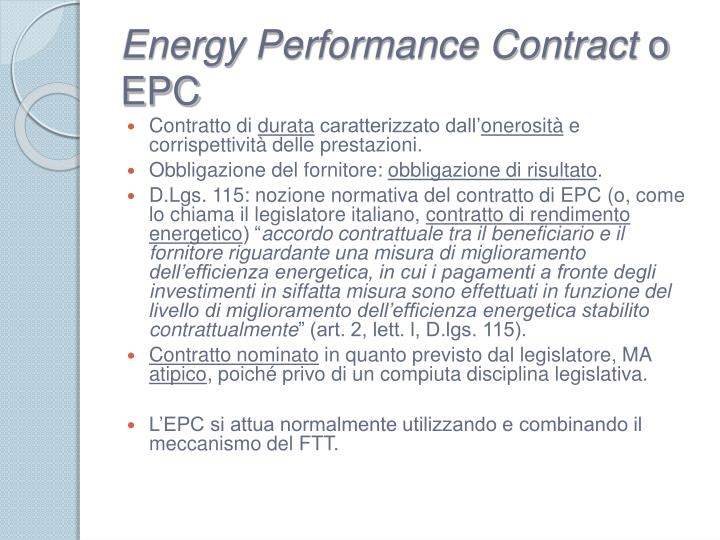Energy Performance Contract