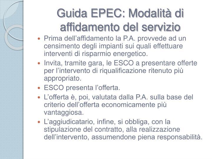 Guida EPEC: Modalità di affidamento del servizio