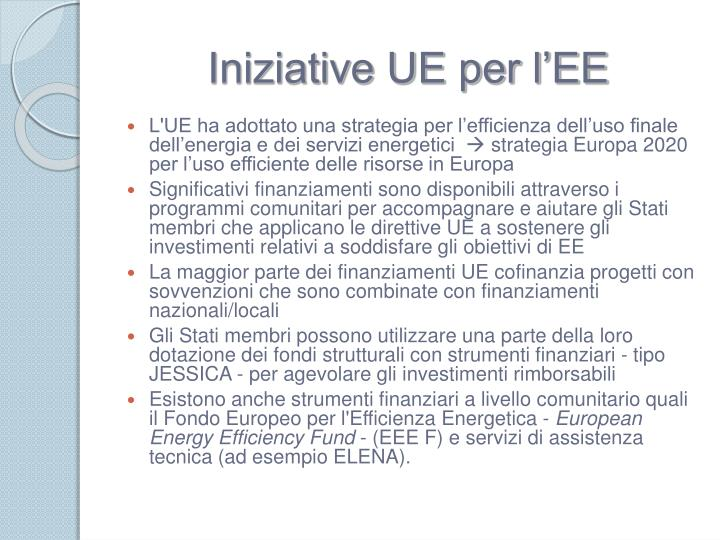 Iniziative UE per l'EE