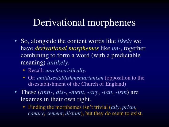 Derivational morphemes