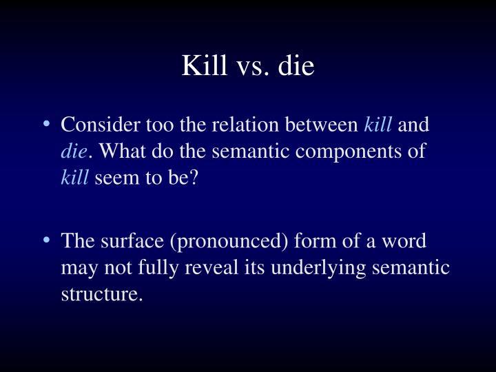 Kill vs. die
