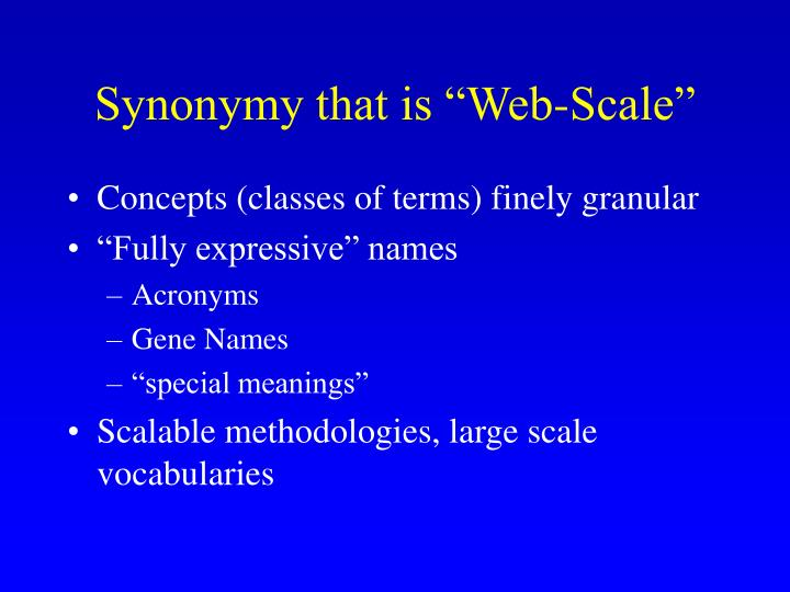 Synonymy that is web scale