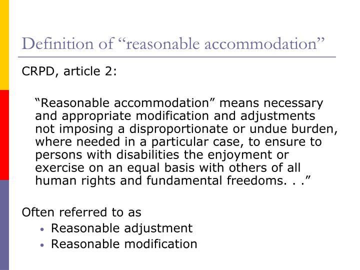 "Definition of ""reasonable accommodation"""