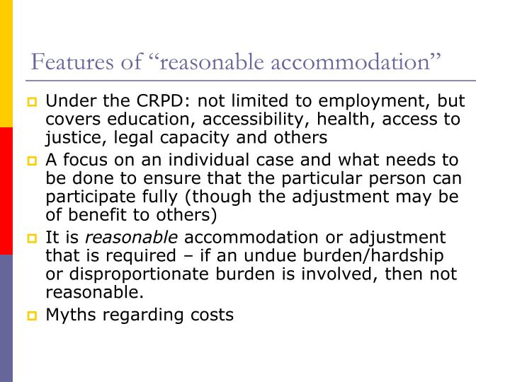 """Features of """"reasonable accommodation"""""""