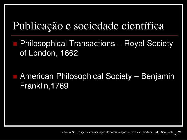 Publicação e sociedade científica