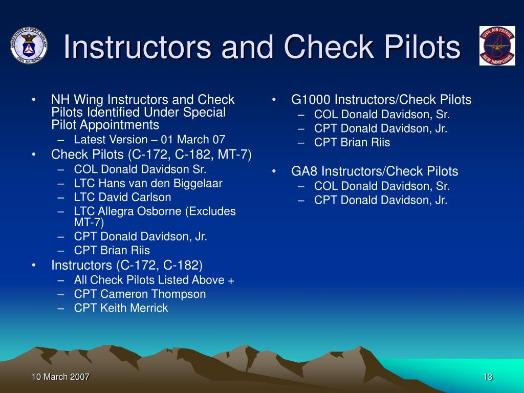 NH Wing Instructors and Check Pilots Identified Under Special Pilot Appointments