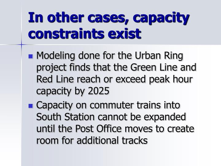 In other cases, capacity constraints exist