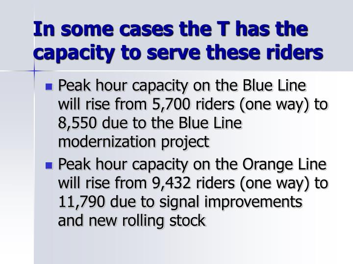 In some cases the T has the capacity to serve these riders