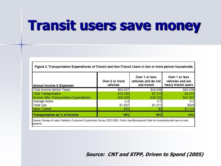 Transit users save money