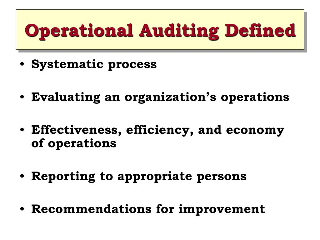 operations audit An operations audit is a cost-effective means of identifying opportunities and providing order of magnitude quantification regarding the delta between current state and best practices these initiatives often uncover low cost/high benefit operational concepts.
