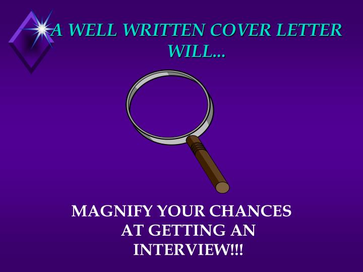 A WELL WRITTEN COVER LETTER WILL...