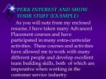 perk interest and show your stuff example