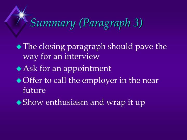 Summary (Paragraph 3)
