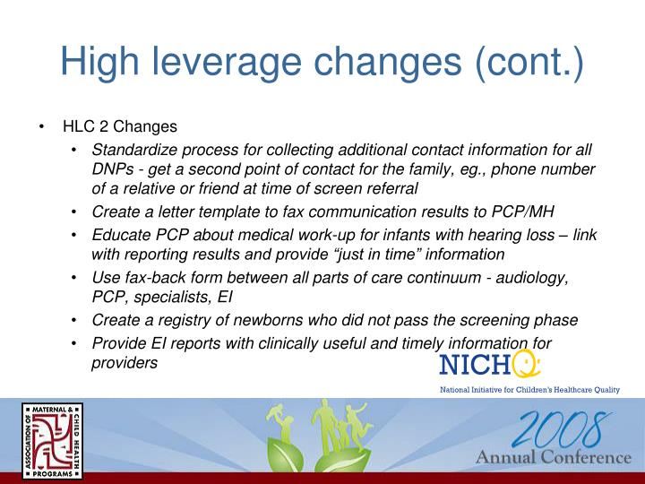 High leverage changes (cont.)