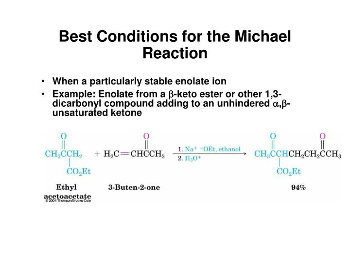 Best Conditions for the Michael Reaction