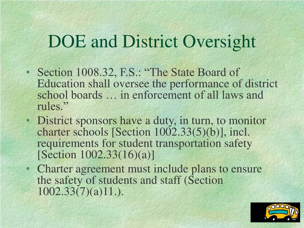 DOE and District Oversight