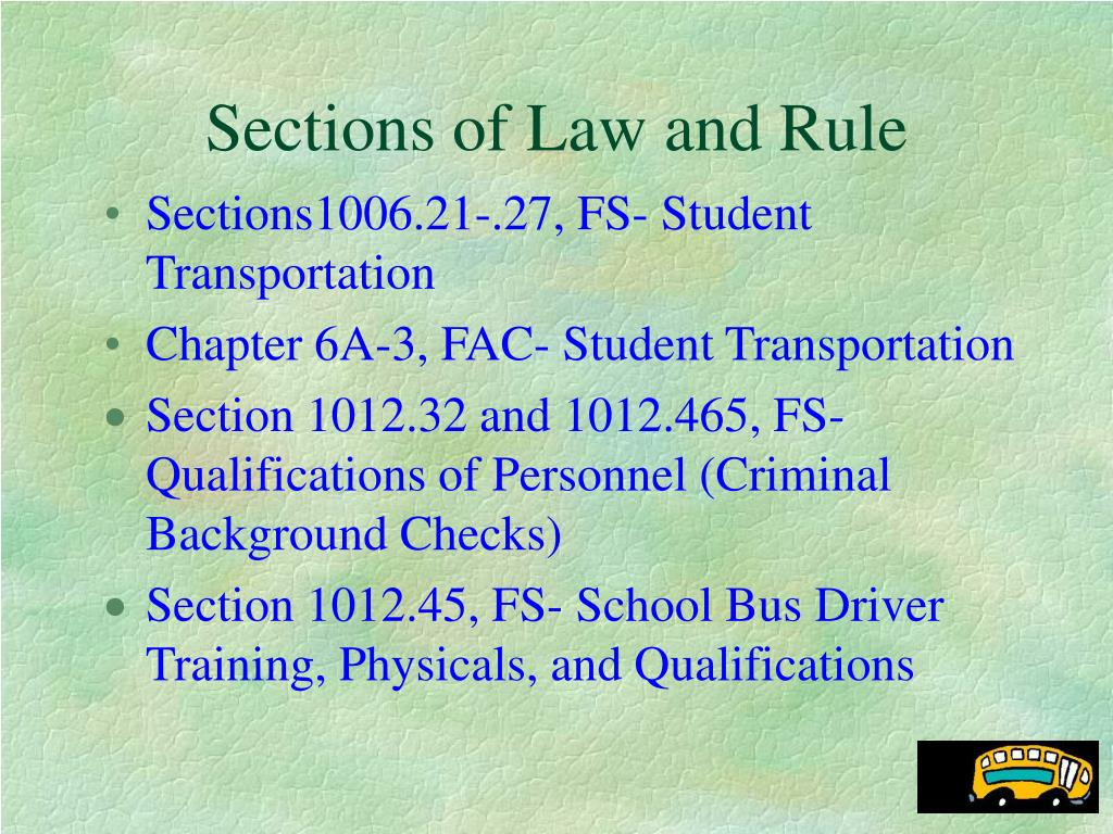 Sections of Law and Rule