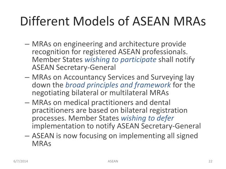 Different Models of ASEAN MRAs