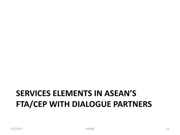 Services Elements in ASEAN's FTA/CEP with Dialogue Partners