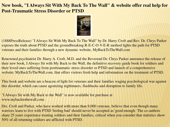 "New book, ""I Always Sit With My Back To The Wall"" & website offer real help for Post-Traumatic Stres..."