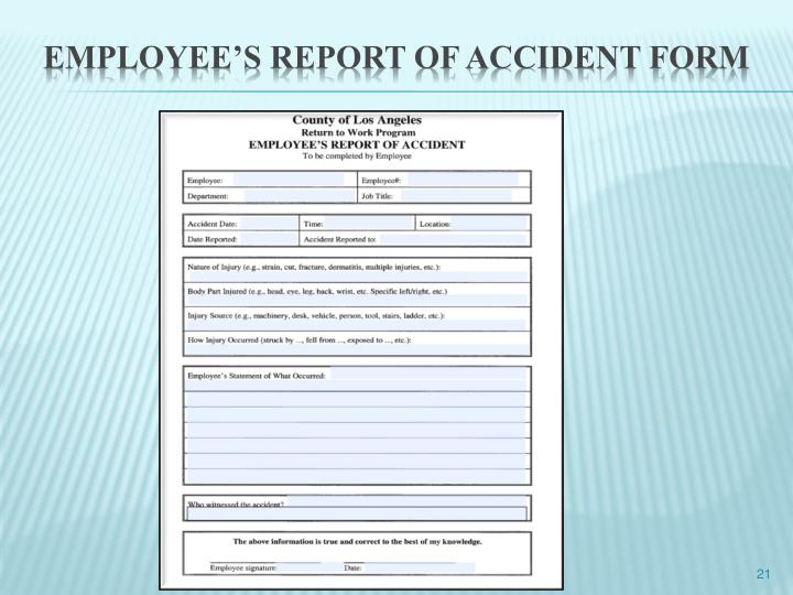 EMPLOYEE'S REPORT OF ACCIDENT FORM
