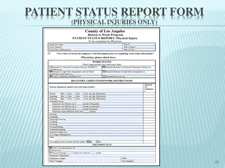 Patient status report FORM