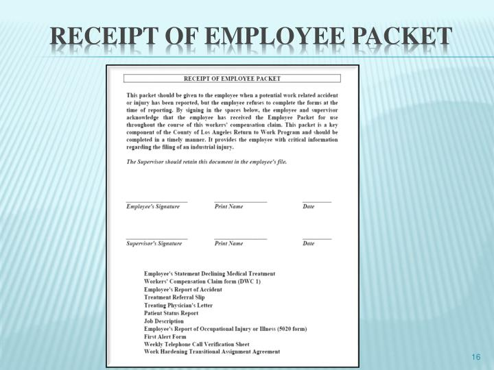 Receipt of employee packet
