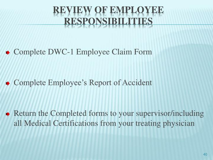 Complete DWC-1 Employee Claim Form