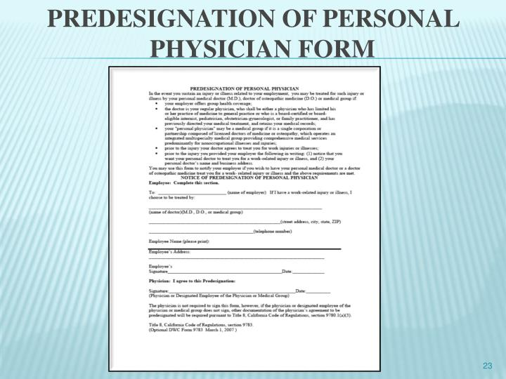 PREDESIGNATION OF PERSONAL PHYSICIAN FORM